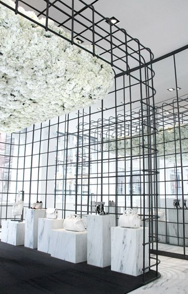 Alexander Wang /Jeff Letham, installation of 3000 suspended white hydrangeas at the Soho store, NYC.