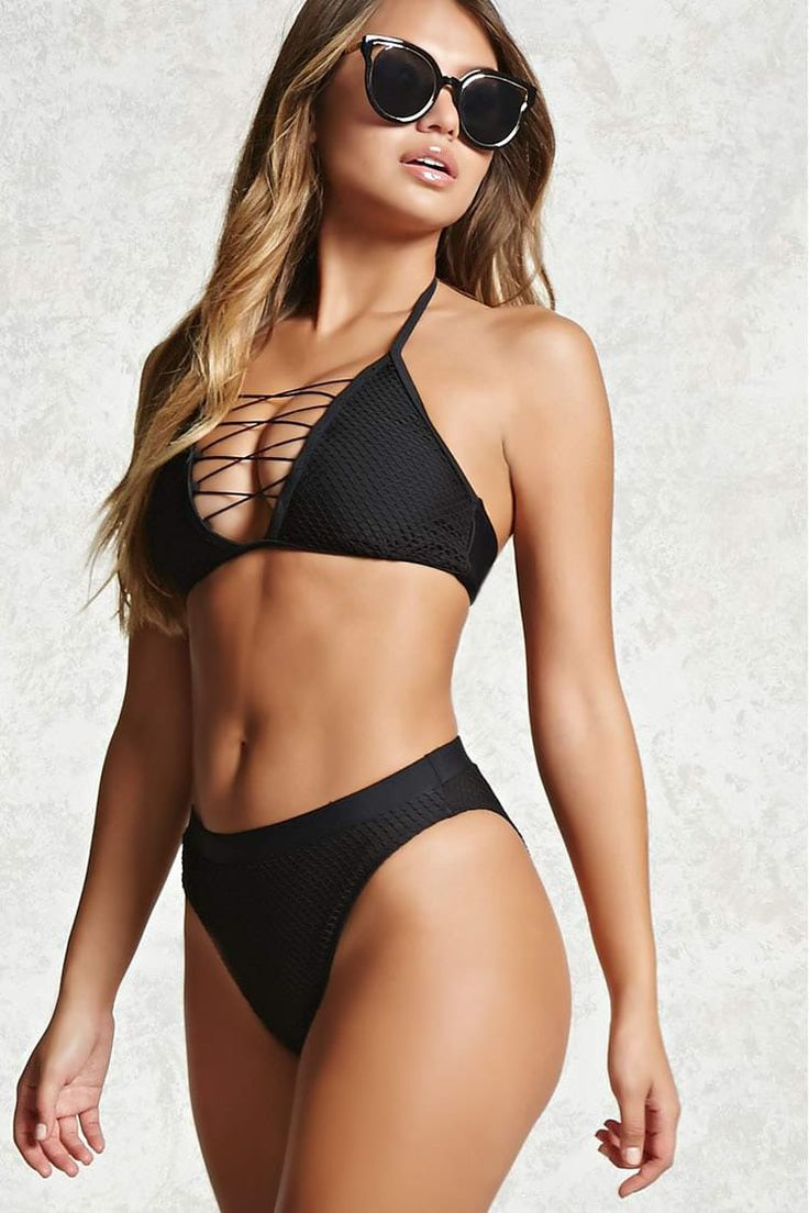 A pair of stretch-knit bikini bottoms featuring a fishnet overlay design, high-waist, high-leg cut, and cheeky fit.<p>- Matching top available.</p>