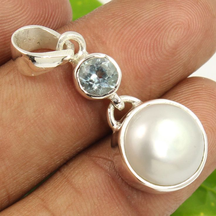 Fabulous Pendant Natural BLUE TOPAZ & PEARL Gemstone 925 Sterling Silver Jewelry #Unbranded #Pendant