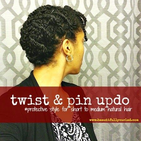 Twist and Pin Updo for Short to Medium Length Natural Hair #beautifullycurled