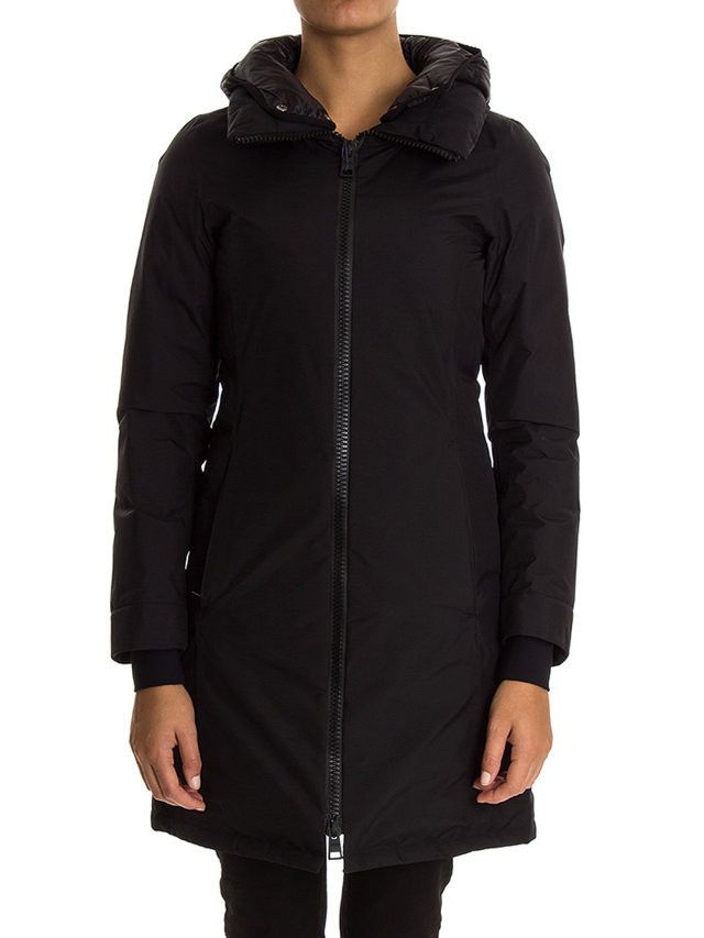 Herno-piumino nero con cappuccio-black hooded down coat-Herno shop online