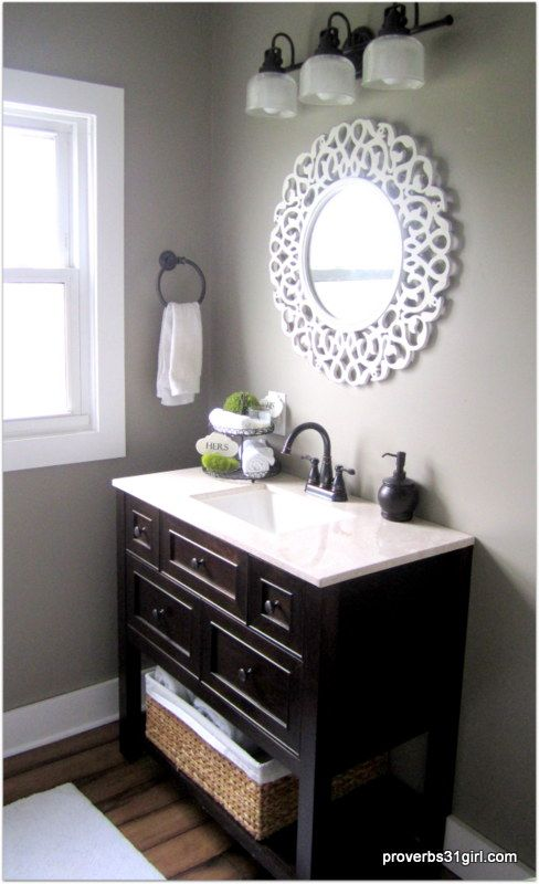 Gray and brown bathroom