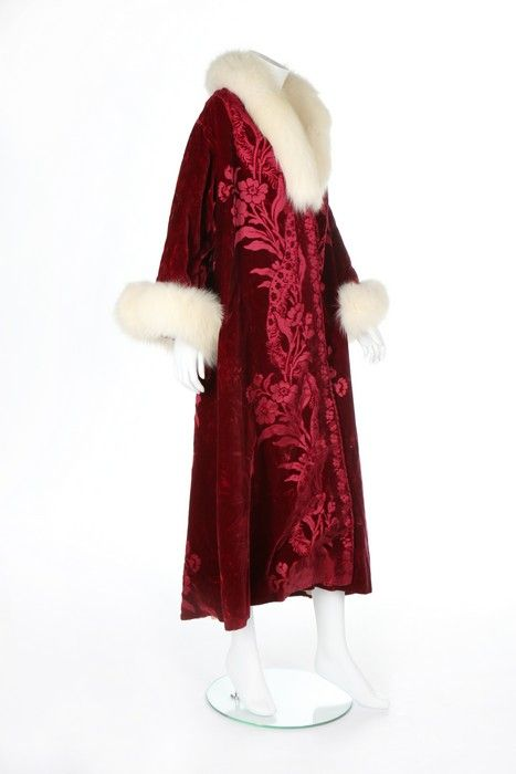 A Maison Worth cut velvet evening coat, 1901 and altered in the 1920s