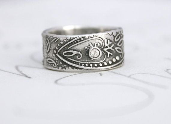 wide paisley wedding band with sapphire . unique by peacesofindigo, $212.00