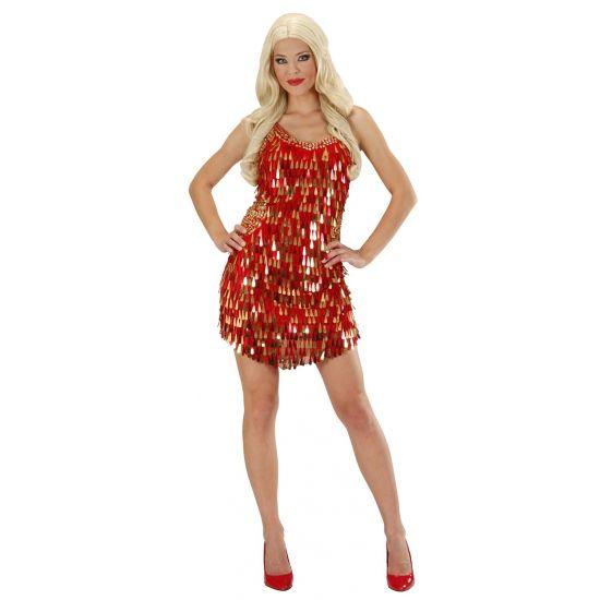 Rood met gouden pailletten jurk. Feestelijke jurk met rode en gouden hangende pailletten voor dames.