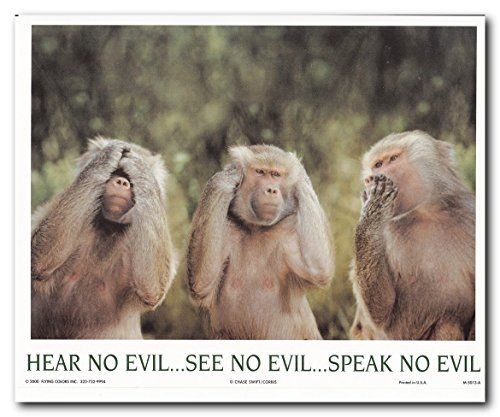 Truly unique! This monkey hears no evil see no evil and speak no evil art print poster will makes this poster the centre of attraction. It will be a perfect addition for your home or office décor. The Three Wise Monkeys is a sacred ancient icon whose original meaning is intentionally being hidden from us by the Elite. This ancient icon wall art captures the message in it that we should focus on eyes and heart on doing good and doing no evil.