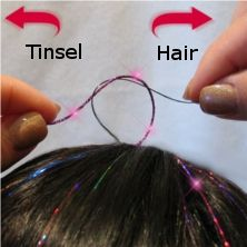 Directions for Pro Hair Tinsel | Hair Flairs- Wonder if you can do this with just regular tinsel… I think I should test this on @Victoria Greer