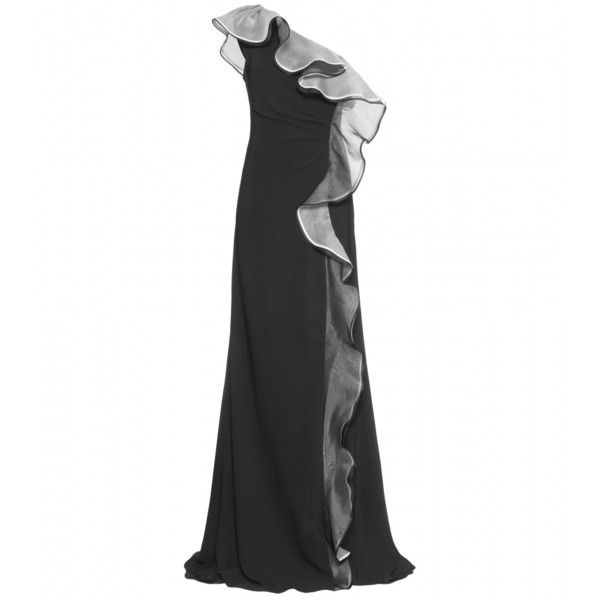 Valentino One-Shoulder Gown With Volant Trim (60.356.645 VND) ❤ liked on Polyvore featuring dresses, gowns, vestidos, valentino, black, women, valentino dress, transparent dress, valentino evening gowns and one shoulder evening dresses