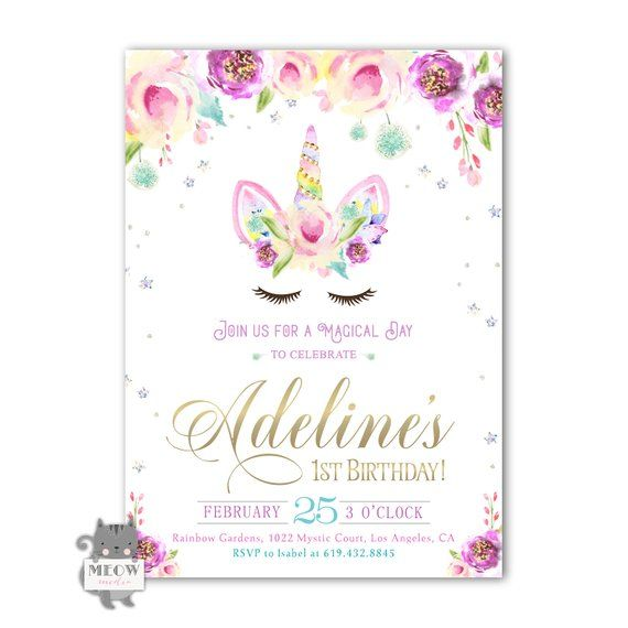 Printable Unicorn Birthday Invitation 1st Birthday Party