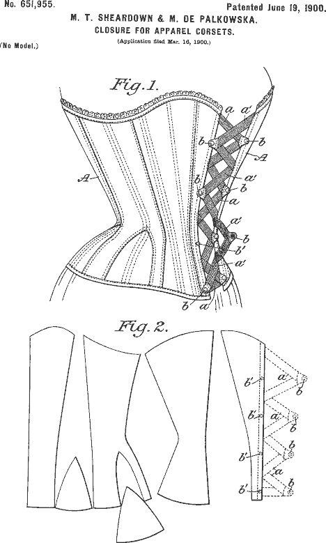 corset patent (1900) M.T Sheardown & M. De Palkowska closure for apparel corsets