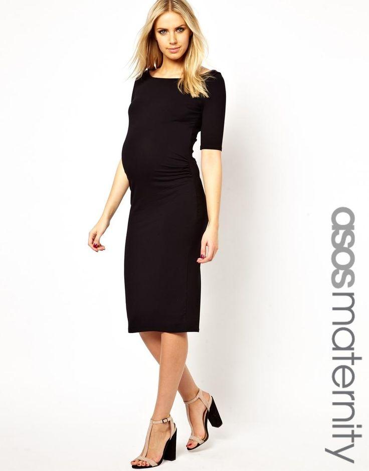 ASOS Maternity   ASOS Maternity Bardot Dress With Half Sleeve In Longer Length at ASOS