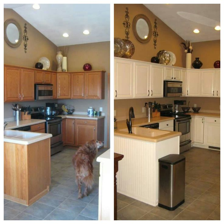 Before After Kitchen Remodel Painted Oak Cabinets To Antique White