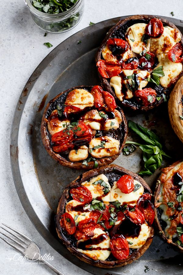 Caprese Stuffed Garlic Butter Portobellos - Using Vegan Daiya Cheese and Earth Balance Butter for this recipe