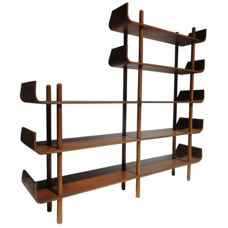 1stdibs | Rare teak plywood shelving by Wilhelm Lutjens for De Boer Gouda
