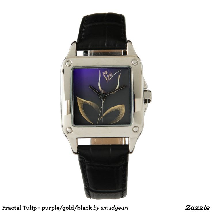 Fractal Tulip - purple/gold/black Wristwatches