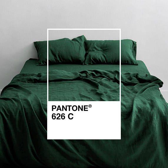 3 Piece Linen Bedding Set Forest Green Linen Duvet Cover 2 Bed Linen Sets Bed Linen Design Luxury Bedding