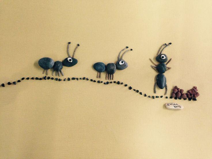 Dıy pebble art sweet pismire (gülen) - Ameisen aus Steinen