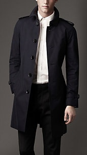 Mens Fashion Mid-Length Cotton Gabardine Burberry Trench Coat