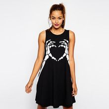New 2016 Women Spring summer new European punk Style finger skull print Loose Women Sleeveless Tops Lady dress T shirts Z2128(China (Mainland))