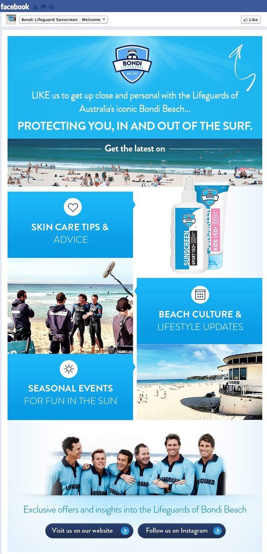Bondi Life Guard Sunscreen #Facebook #LandingPage. #SocialMedia