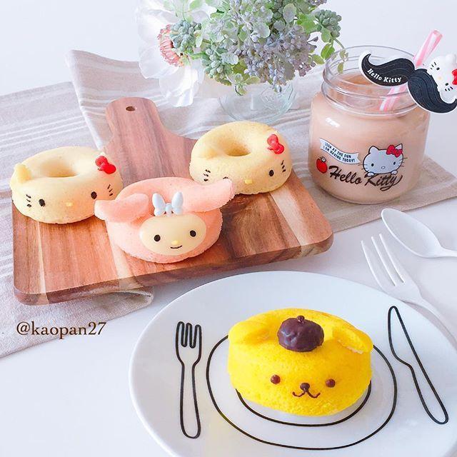 おはようございます(*ˊૢᵕˋૢ*) 今日の#朝ごはん は〜 #蒸しパン です♡ シリコンのドーナツ型で作った蒸しパンをキティちゃん.マイメロ.プリンちゃんに変身させてみました〜♡ モチモチふんわりとっても美味しかったです♡ . それでは皆様連休最終日楽しくお過ごし下さい・*:..。o♬*゚・*:..。o♬*゚・* . . . #手作り#キャラフード#キティちゃん#マイメロ#ポムポムプリン#サンリオ#おうちごはん#クッキングラム#デリスタグラマー#ママリ#lin_stagrammer #instafood #snapdish #w7foods #characterfood #delimia #kawaiifood #cutefood #breakfast #foodart #fooddeco #pompompurin #hallokitty #sanrio #mymelody