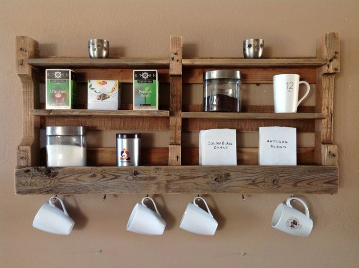 Reclaimed wood coffee & tea shelf. Made from a simple pallet!  I get so many ideas and inspirations from Etsy!