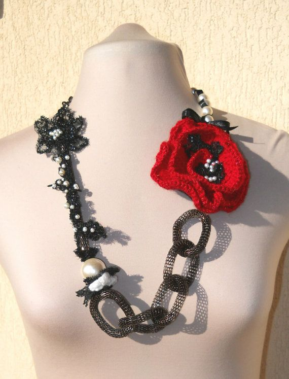 Unique crocheted necklace with oversized chain and handmade