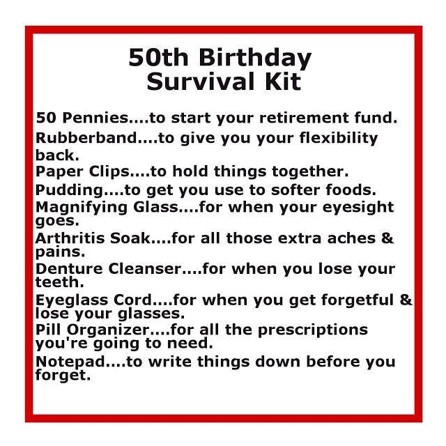 men's 50th birthday gift ideas | 50th Birthday Survival Kit