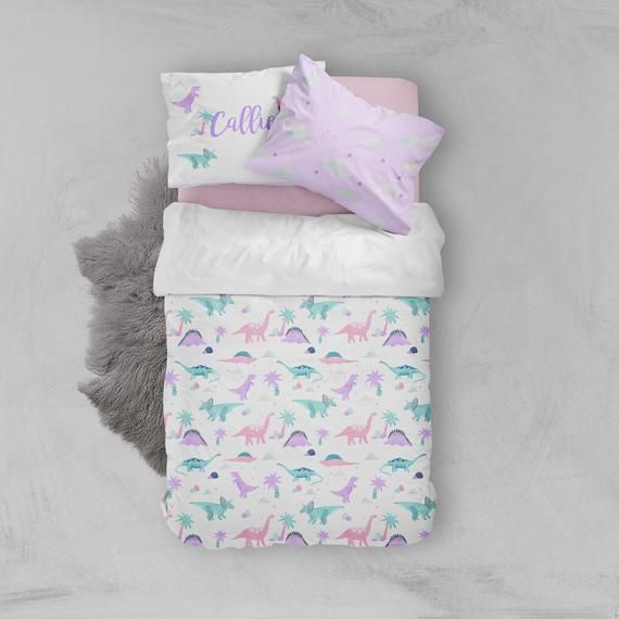 Girls Room Bedding Pink Purple Dinosaur Bedding Toddler Etsy Purple Toddler Room Toddler Bed Set Girls Dinosaur Bedding