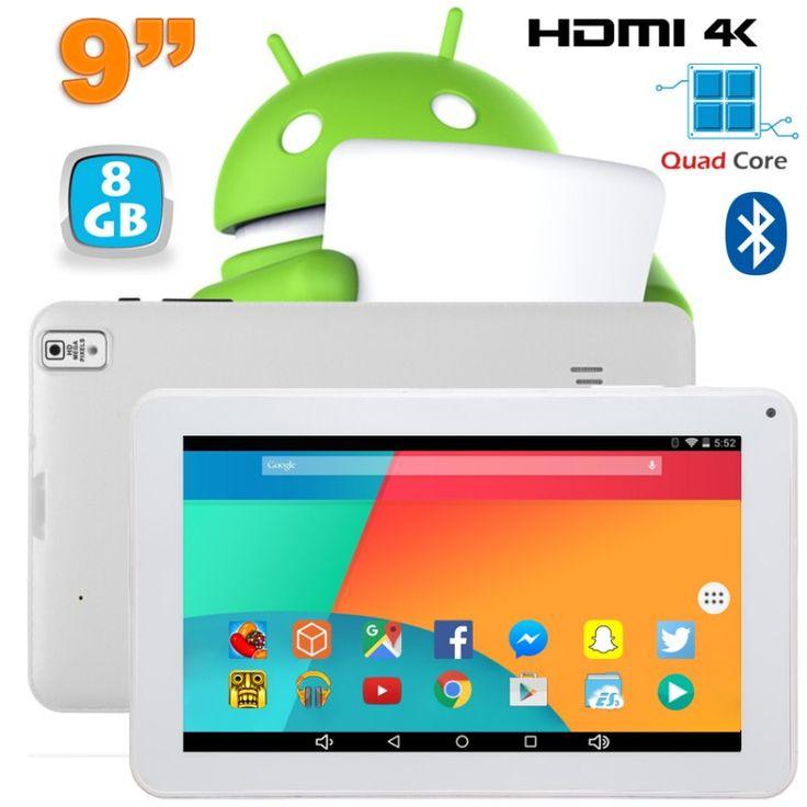Tablette 9 pouces fonctionnant sous Android 6.0 Marshmallow et disposant d'un port Mini HDMI 4K. Elle est notamment équipée d'un processeur Quad Core cadencé à 1.5 GHz, d'une mémoire vive de 1Go, d'une connexion Bluetooth et d'un écran tactile capacitif. Mémoire interne 8 Go. Couleur : Blanc