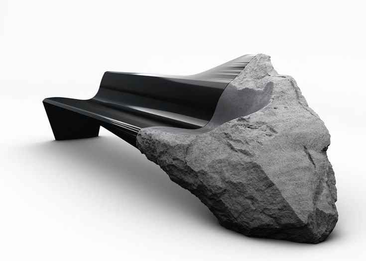 Volcanic rock and carbon fibre spliced in sofa by Peugeot Design Lab