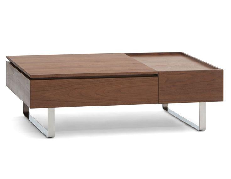 Table basse design avec rangements integres deploy - Table basse relevable avec rangement ...