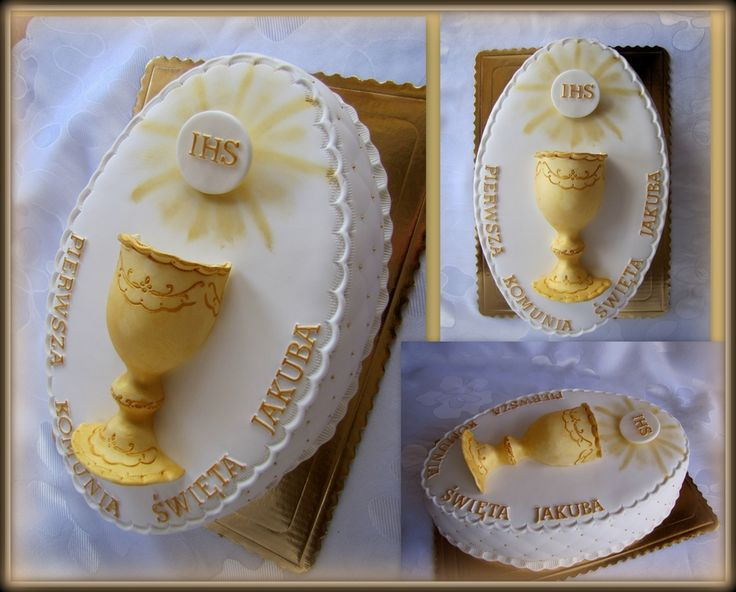 1st First Foly Communion Chalice Host Cake Oval