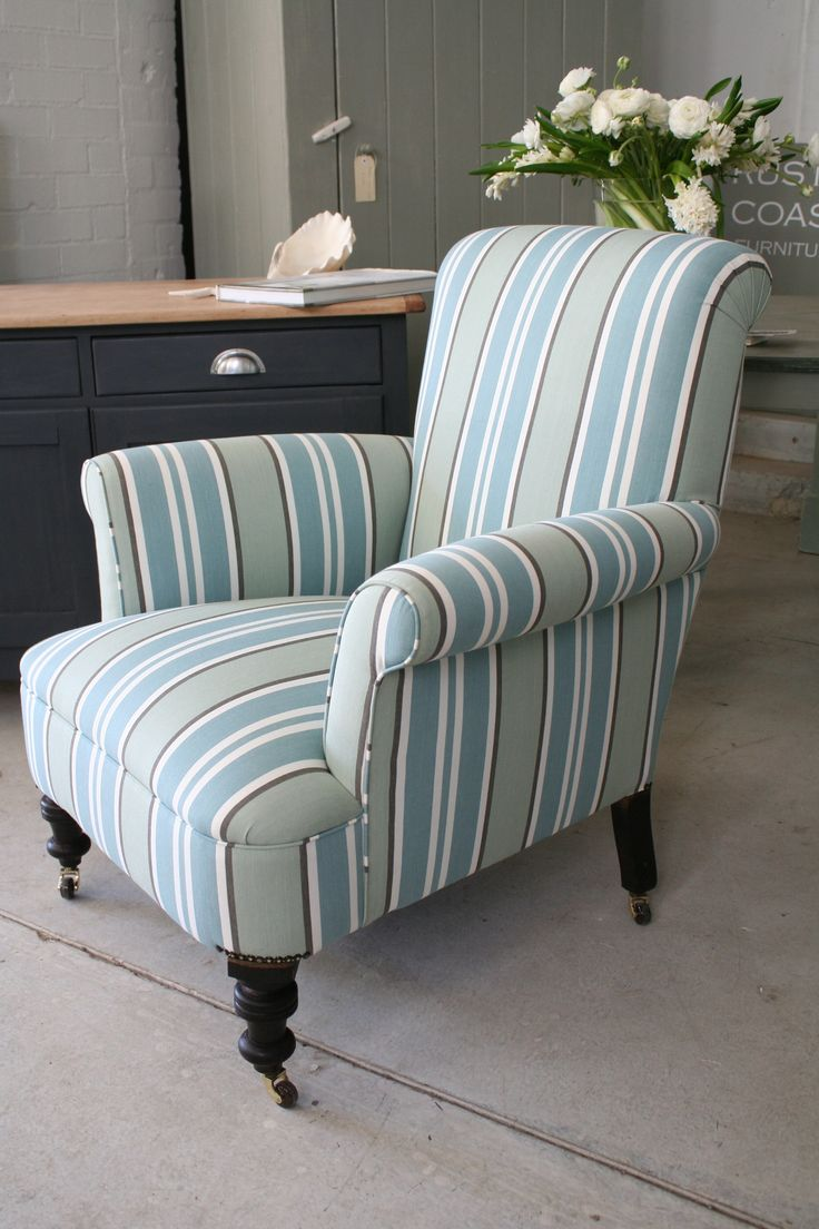 This large, comfortable  Edwardian armchair has been professionally upholstered (by Elio Upholstery) in a classic coastal stripe which I bought in the UK.    Dimensions:  70cm wide, 72cm deep, 95cm tall  to top of back