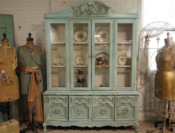 The French Provincial Cabinet - To Wallpaper or not to wallpaper?  take that back off, cover the back with cloth or paper and replace. That way you can change it if you want.  Hometalk