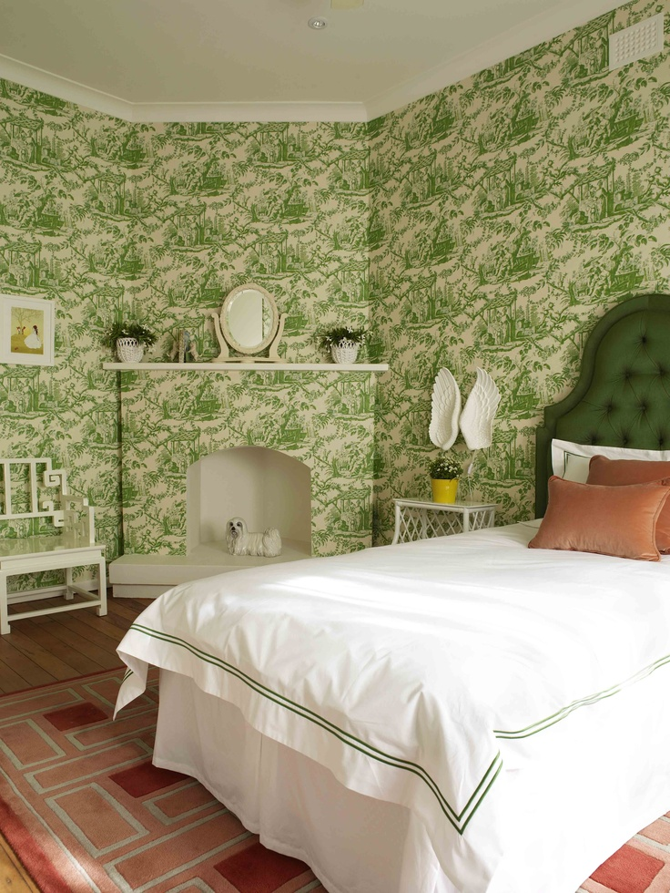 The brief for this room was to create a fun and pretty interior that my client's 3 year old daughter could grow into. The key statement piece in this room is the green and white toile wallpaper...a modern twist on a tradtional print.
