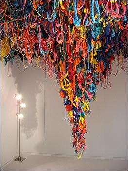 TEXTILE INSTALLATION (This reminds me of the ceiling in my bedroom...just with more color...)