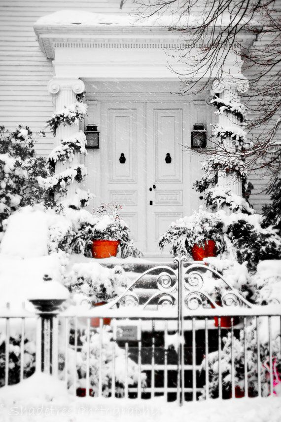 Snowy door: Snow Photography, Summer Picnic, Christmas Holidays, New England, Winter Wonderland, White Christmas, Christmas Mornings, Outdoor Christmas