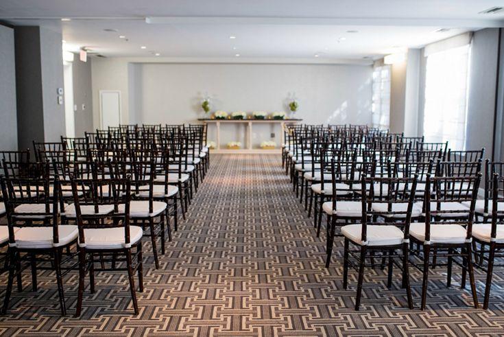 Elegant indoor Washington, D.C. wedding ceremony at Kimpton Lorien Hotel and Spa | Hotel wedding venues (Maria Grace Photography)