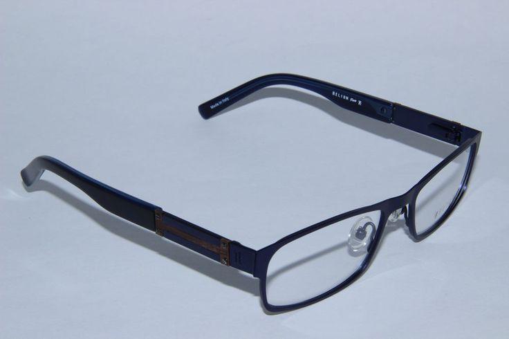 Helium Paris Eyeglasses 4167 Blue Wood Mens Optical Frame Large Rectangle #HeliumParis #Rectangular