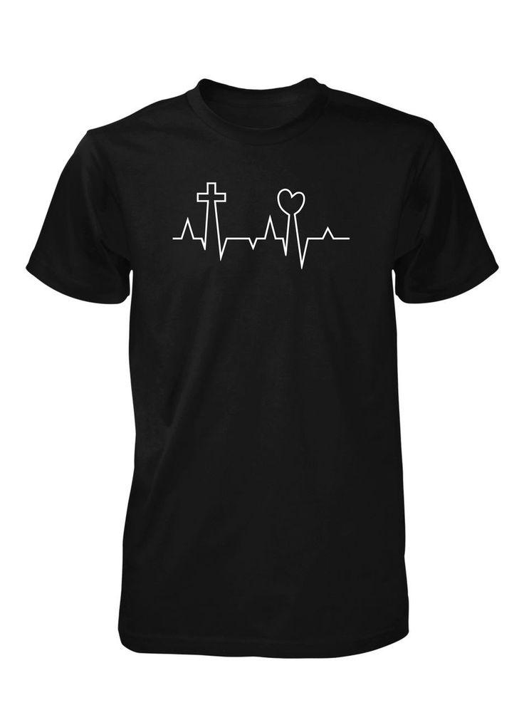 Men's EKG Life Line Pulse Love Heart Cross Jesus Valentine's Day Christian Tshirt Más