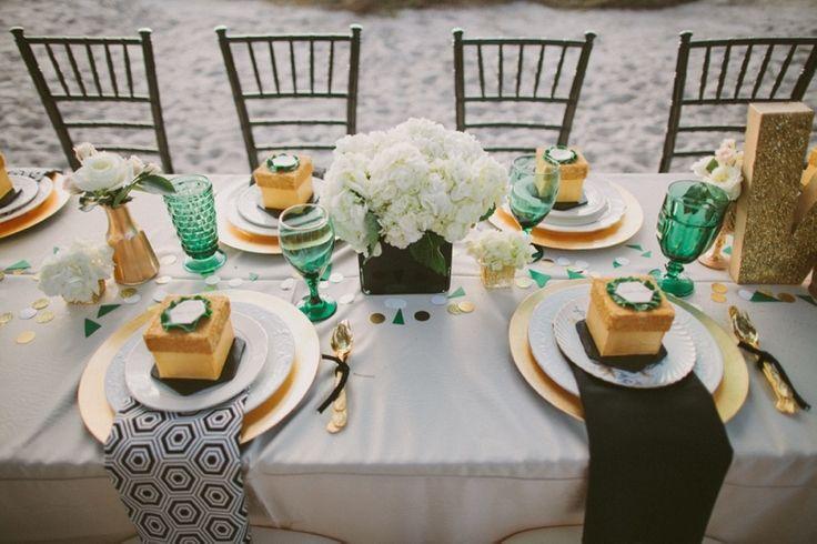 mariage vert émeraude or, decoration mariage vert menthe, émeraude or