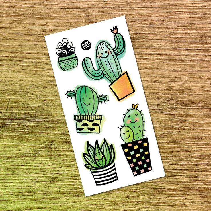 Les cactus -Tatouages Temporaires Cactus - Temporary tattoos