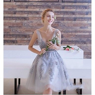 Cocktail+Party+Dress+A-line+V-neck+Knee-length+Lace+/+Tulle+with+Appliques+/+Lace+–+CAD+$+83.39