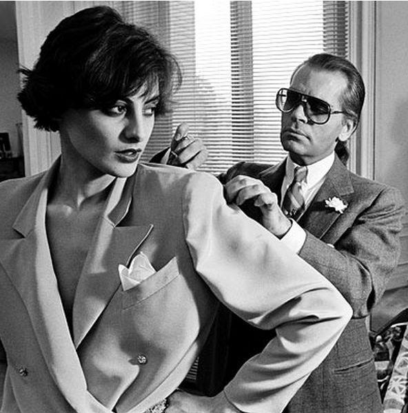 """[Inès de La Fressange], [orig. comment: """"Karl Lagerfeld with Inès de La Fressange, Chloe.""""]"""