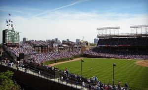Groupon - Cubs Game Rooftop Seating at Wrigley Rooftop with All-Inclusive Food and Drink (Up to Half Off). Eight Games Available. in Chicago (Lakeview). Groupon deal price: $79.00