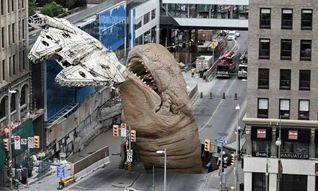 Meanwhile, in Ottawa... that's no #sinkhole!  #starwars #milleniumfalcon #ottawa
