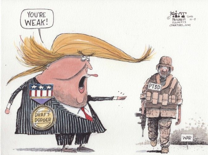 Cartoonist Chris Britt believes Donald Trump statement about PTSD says more about Trump's weakness than that of any combat veteran.