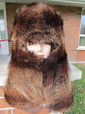 Mans mens silver raccoon fur hat full face scarf style FULL FUR