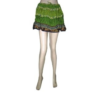 Bohemian Mini Skirt, Gypsy Skirt New Green Printed Cotton Skirts for Girls (Apparel)  http://documentaries.me.uk/other.php?p=B006N4NSJ2  B006N4NSJ2